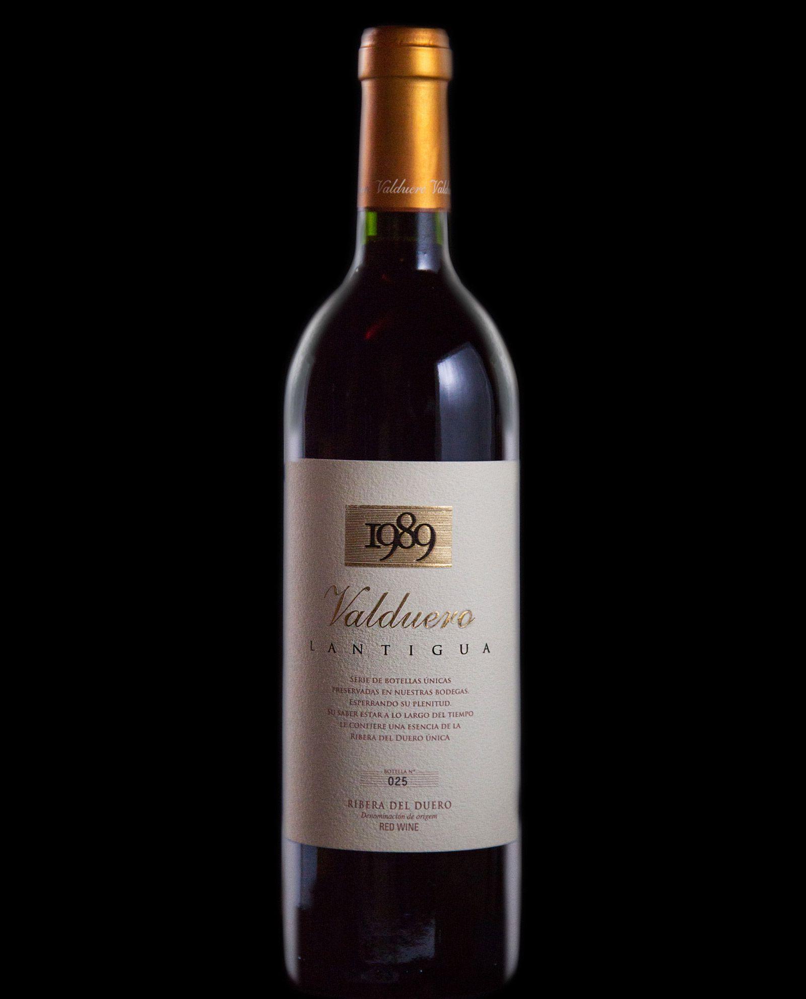 Botella de vino de lujo Valduero lantigua, vino de lujo de la Ribera de Duero