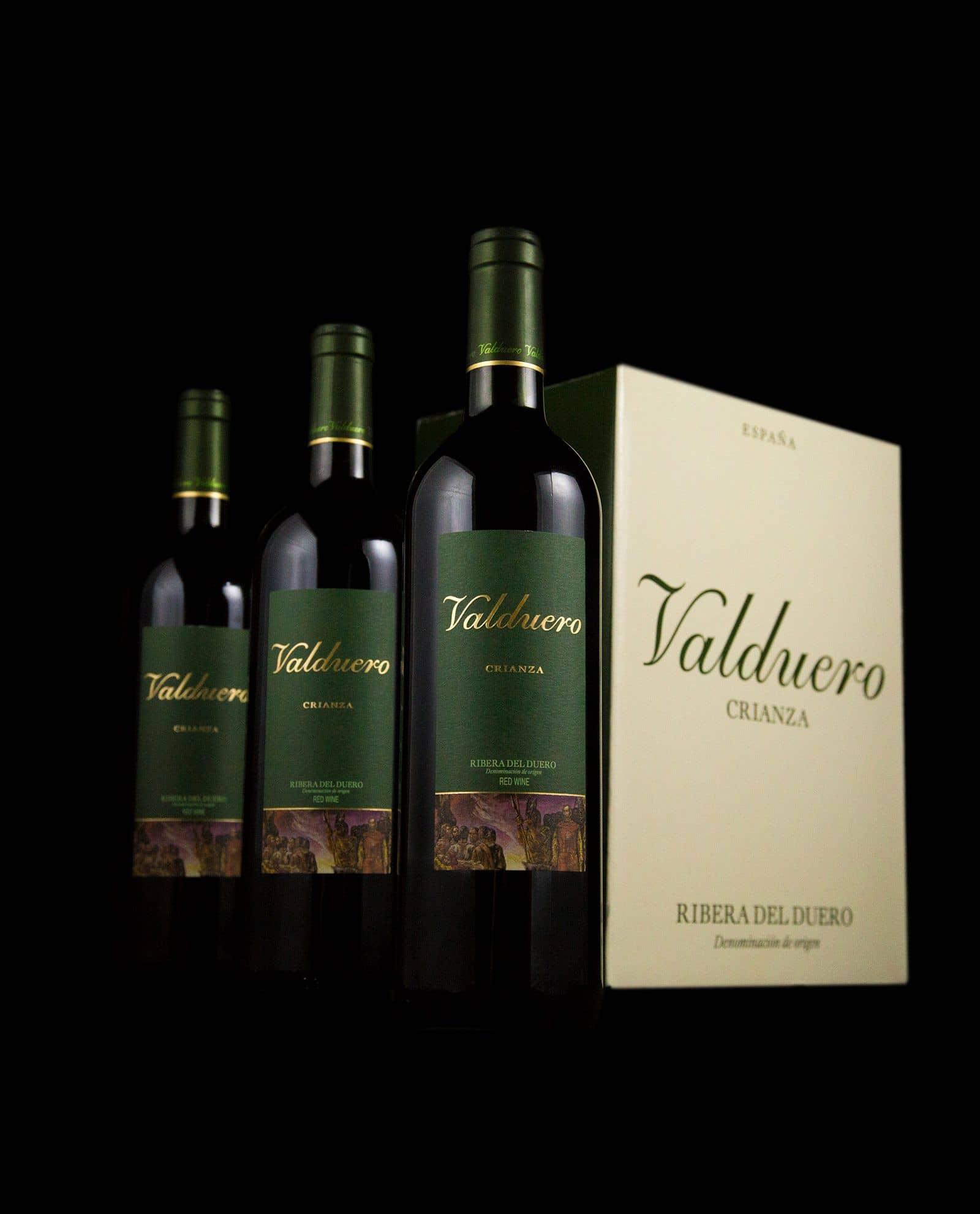 Caja grande Valduero crianza, caja de vino tinto de Ribera del Duero