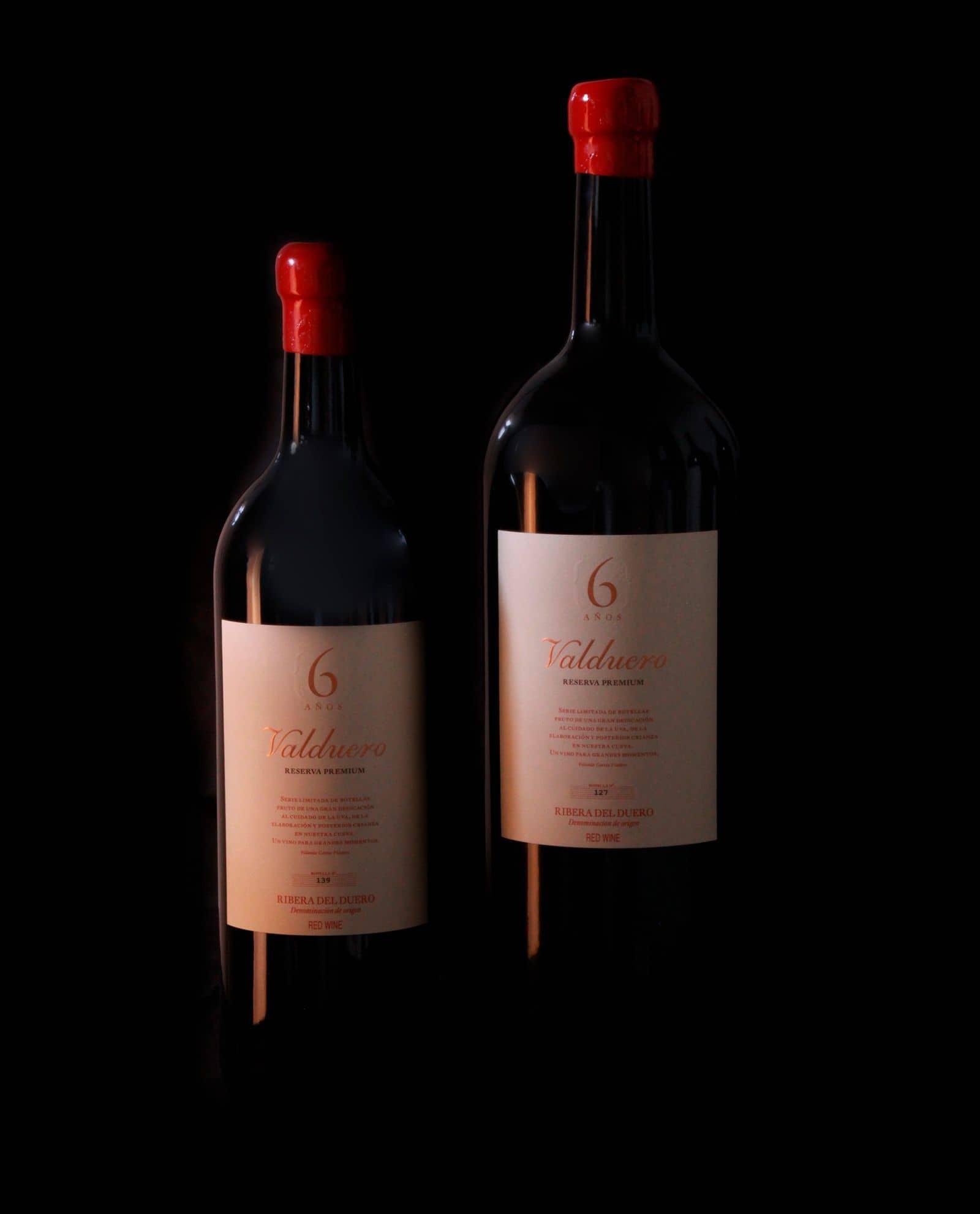 Tamaños Botellas de Vino Valduero 6 años, Vino Ribera del Duero, VIno tinto