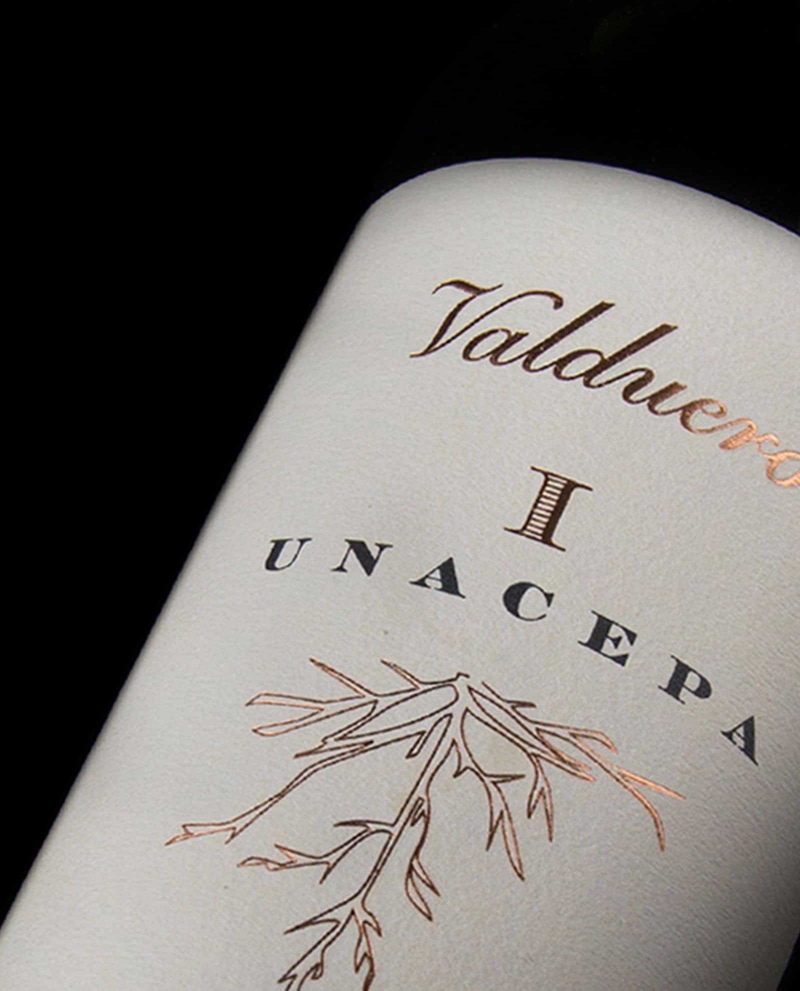 Detalle Valduero una cepa, vino tinto de la Ribera del Duero