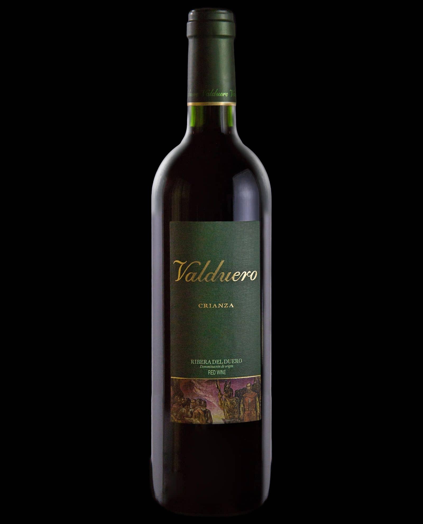 Botella Valduero crianza, vino tinto de la Ribera del Duero