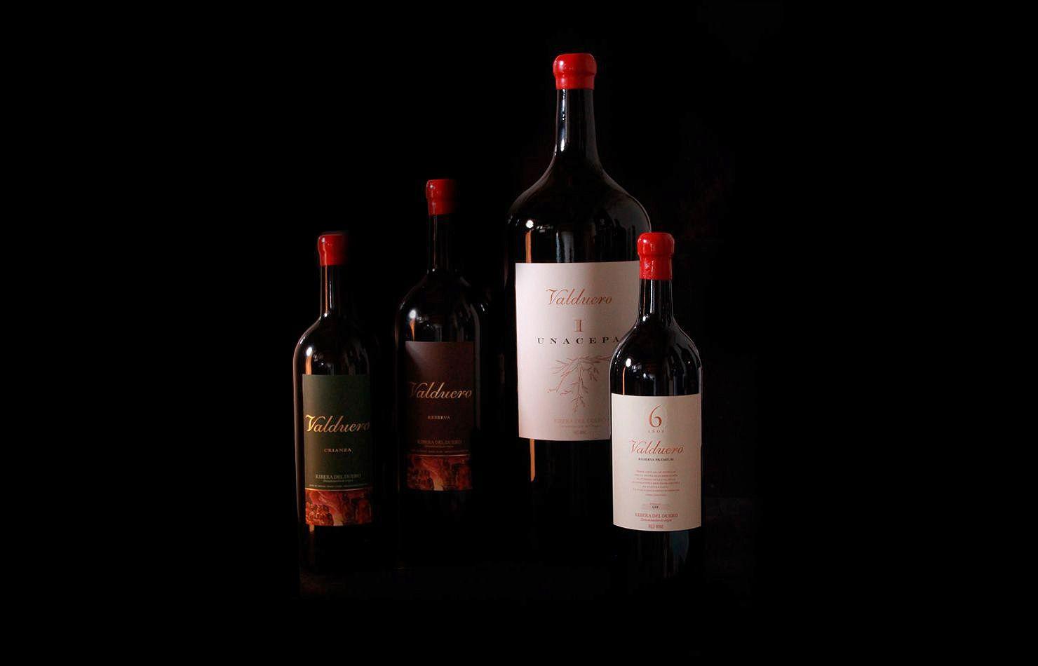 Diferentes tamaños de las botellas de vinos Valduero
